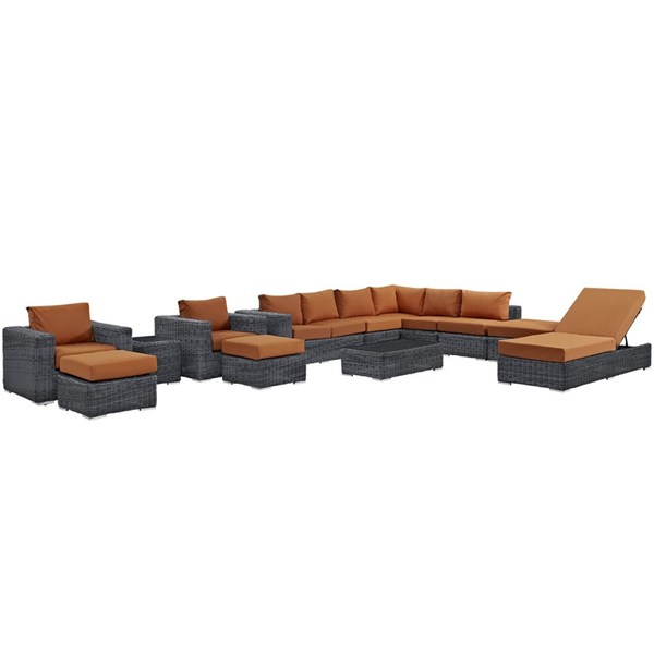 Summon Tuscan Fabric Synthetic Rattan 12pc Outdoor Patio Sectional Set EEI-1898-GRY-TUS-SET