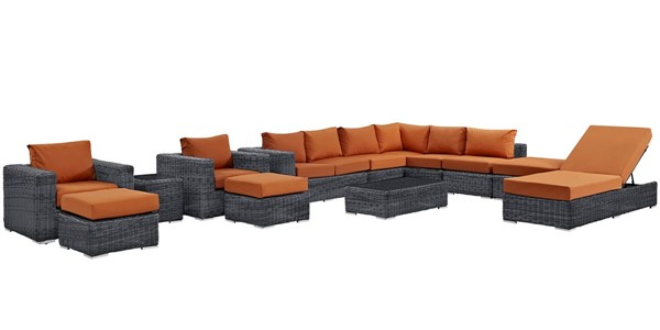 Modway Furniture Summon Tuscan 12pc Outdoor Patio Sectional EEI-1898-GRY-TUS-SET