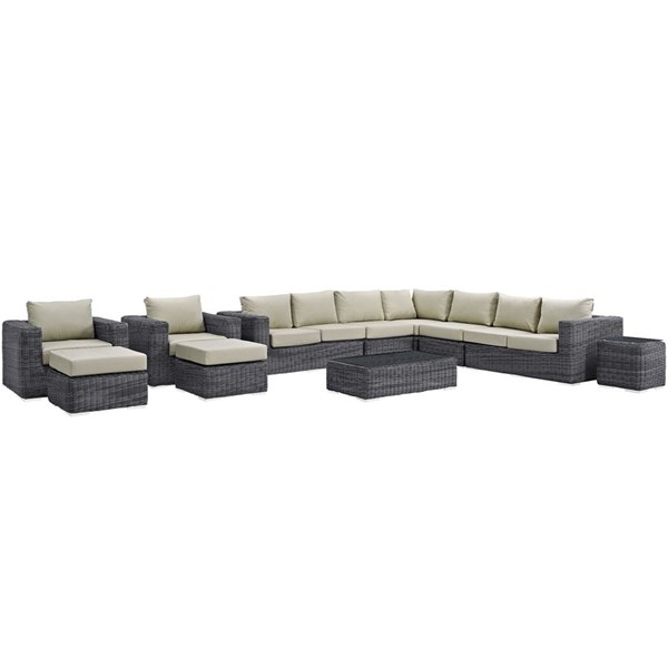 Modway Furniture Summon Beige 11pc Outdoor Patio Sectional EEI-1899-GRY-BEI-SET