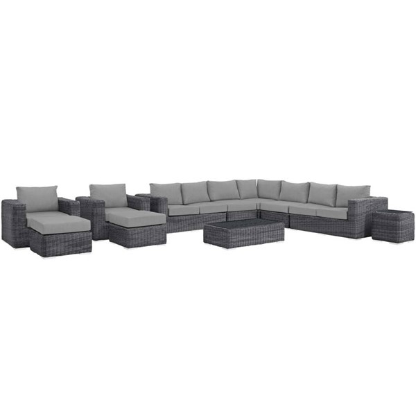 Modway Furniture Summon Gray 11pc Outdoor Patio Sectional EEI-1899-GRY-GRY-SET