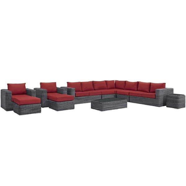 Modway Furniture Summon Red 11pc Outdoor Patio Sectional EEI-1899-GRY-RED-SET