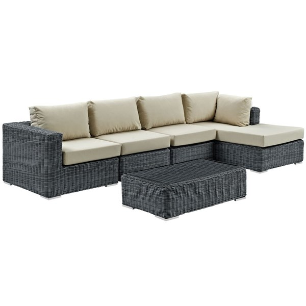 Modway Furniture Summon Beige RAF 5pc Outdoor Sunbrella Sectional Sets EEI-1900-OS-SEC-VAR