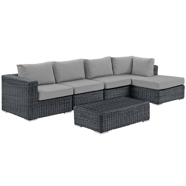 Modway Furniture Summon Gray RAF 5pc Outdoor Sunbrella Sectional Set EEI-1900-GRY-GRY-SET