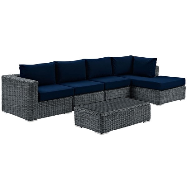 Modway Furniture Summon Navy RAF 5pc Outdoor Sunbrella Sectional Set EEI-1900-GRY-NAV-SET