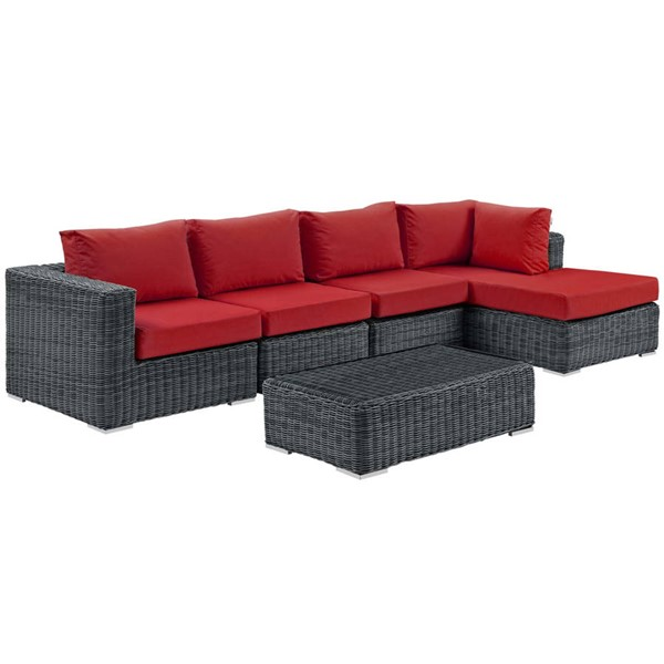 Modway Furniture Summon Red RAF 5pc Outdoor Sunbrella Sectional Set EEI-1900-GRY-RED-SET
