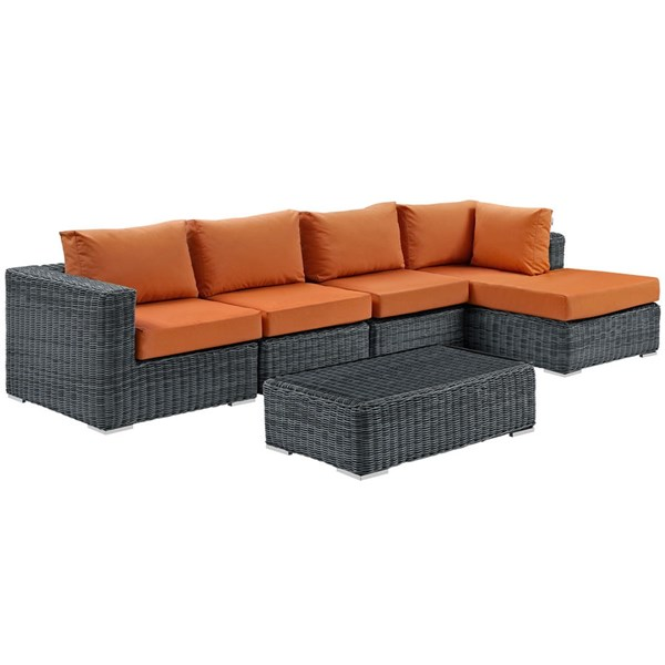 Summon Tuscan Fabric Synthetic Rattan 5pc Outdoor Patio Sectional Set EEI-1900-GRY-TUS-SET
