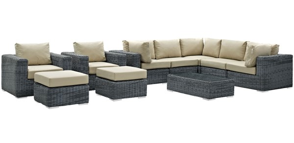 Modway Furniture Summon Beige 10pc Outdoor Patio Sectional Set EEI-1902-GRY-BEI-SET