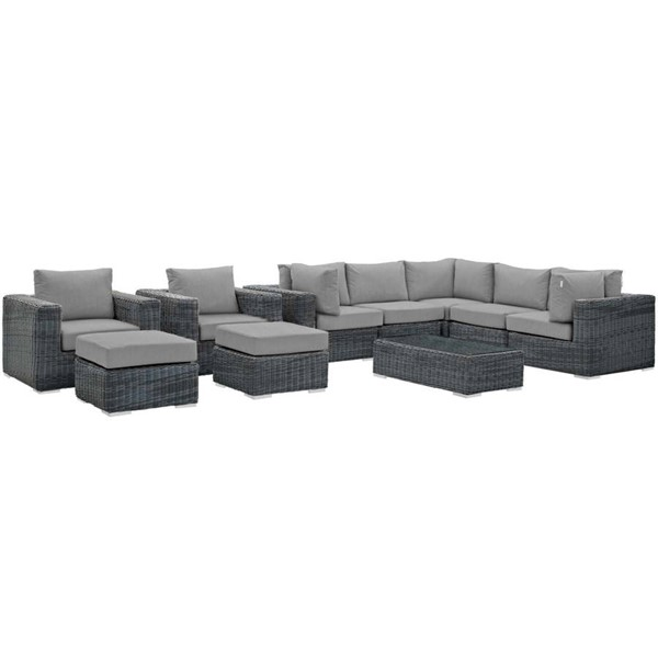 Modway Furniture Summon Gray 10pc Outdoor Patio Sectional Set EEI-1902-GRY-GRY-SET