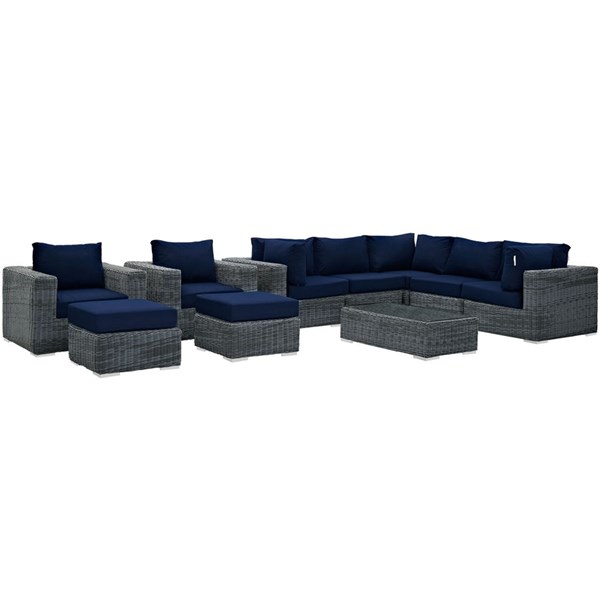 Modway Furniture Summon Navy 10pc Outdoor Patio Sectional Set EEI-1902-GRY-NAV-SET