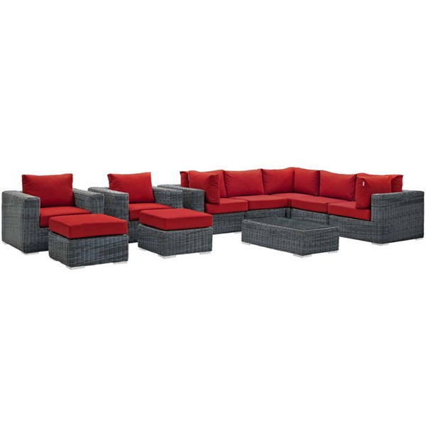 Modway Furniture Summon Red 10pc Outdoor Patio Sectional Set EEI-1902-GRY-RED-SET