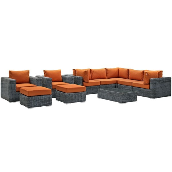 Modway Furniture Summon Tuscan 10pc Outdoor Patio Sectional EEI-1902-GRY-TUS-SET