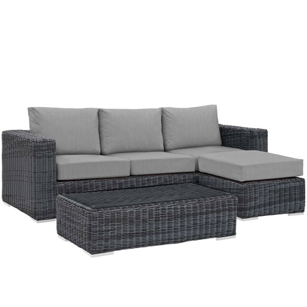 Modway Furniture Summon Gray 3pc Outdoor Sunbrella Sectional EEI-1903-GRY-GRY-SET