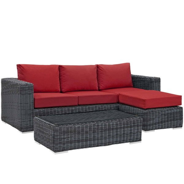 Modway Furniture Summon Red 3pc Outdoor Sunbrella Sectional EEI-1903-GRY-RED-SET