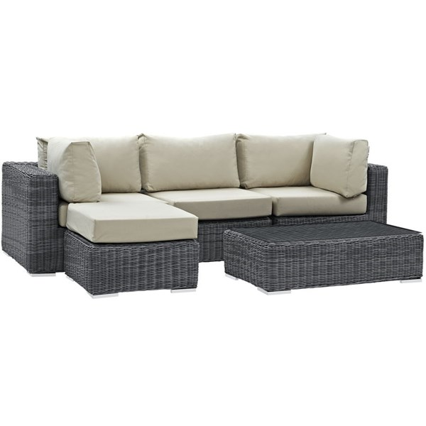 Modway Furniture Summon Beige 5pc Outdoor Sectional Set EEI-1904-GRY-BEI-SET