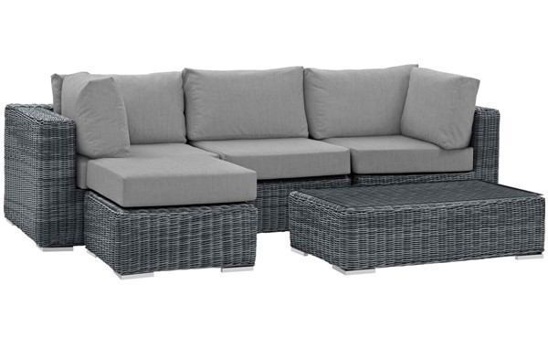 Modway Furniture Summon Gray 5pc Outdoor Sectional Set EEI-1904-GRY-GRY-SET