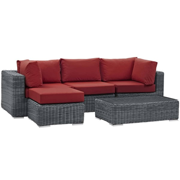 Modway Furniture Summon Red 5pc Outdoor Sectional Set EEI-1904-GRY-RED-SET