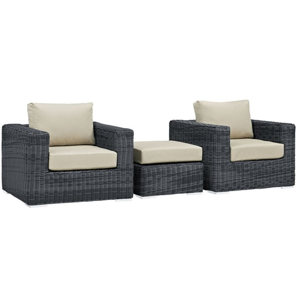 Modway Furniture Summon Beige 3pc Outdoor Chair and Ottoman Set EEI-1905-GRY-BEI-SET
