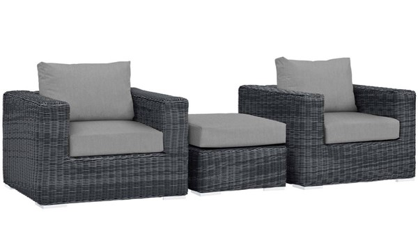 Modway Furniture Summon Gray 3pc Outdoor Chair and Ottoman Set EEI-1905-GRY-GRY-SET