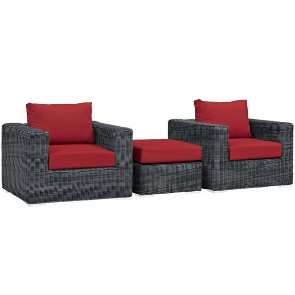 Modway Furniture Summon Red 3pc Outdoor Chair and Ottoman Set EEI-1905-GRY-RED-SET