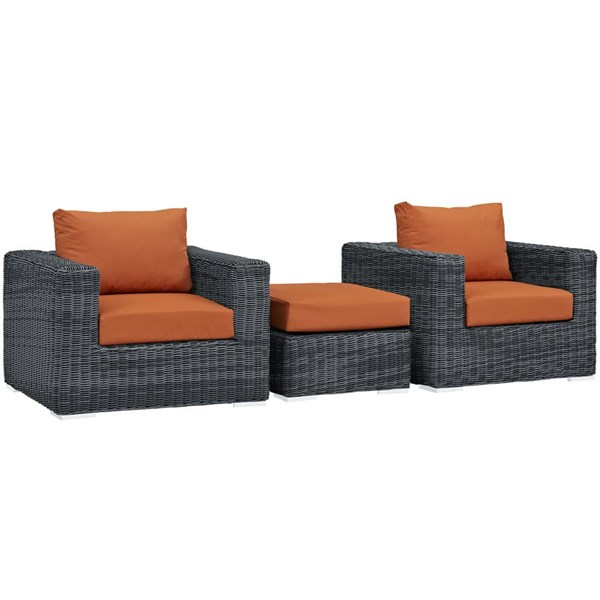 Modway Furniture Summon Tuscan 3pc Outdoor Chair and Ottoman Set EEI-1905-GRY-TUS-SET