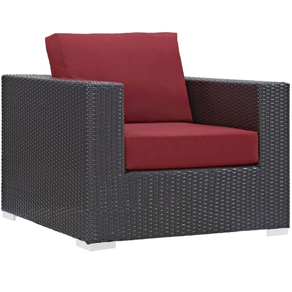 Modway Furniture Convene Espresso Red Outdoor Patio Armchair EEI-1906-EXP-RED