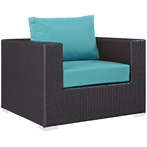 Modway Furniture Convene Espresso Turquoise Outdoor Patio Armchair EEI-1906-EXP-TRQ