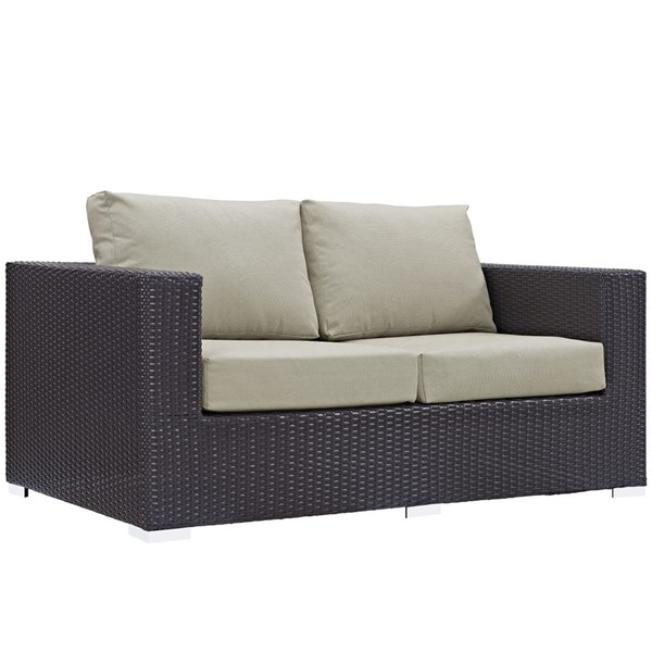 Convene Espresso Beige Fabric Rattan Outdoor Patio Loveseat EEI-1907-EXP-BEI