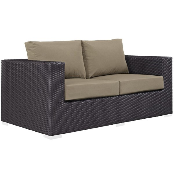 Modway Furniture Convene Espresso Mocha Outdoor Patio Loveseat EEI-1907-EXP-MOC
