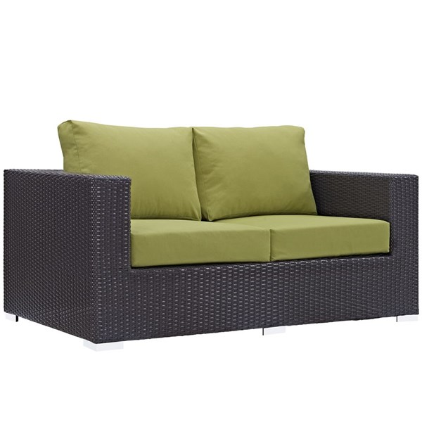Convene Espresso Peridot Fabric Rattan Outdoor Patio Loveseat EEI-1907-EXP-PER