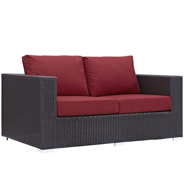 Modway Furniture Convene Espresso Red Outdoor Patio Loveseat EEI-1907-EXP-RED