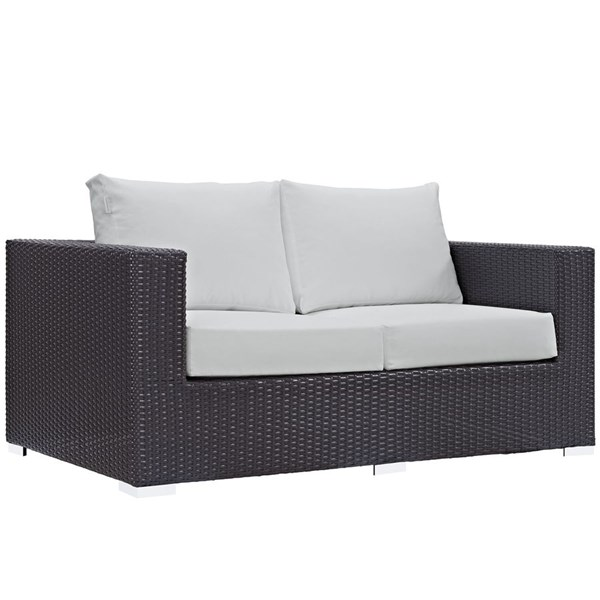 Modway Furniture Convene Espresso White Outdoor Patio Loveseat EEI-1907-EXP-WHI