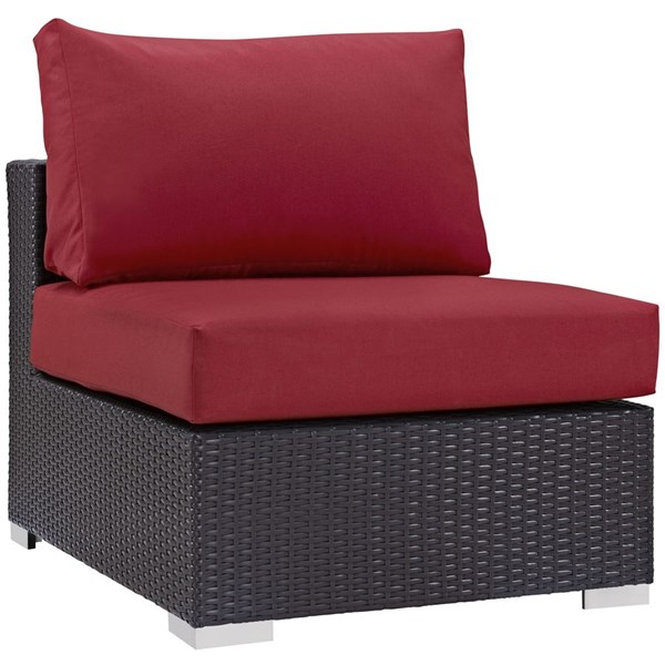 Convene Red Fabric Rattan Aluminum Outdoor Patio Armless Chair EEI-1910-EXP-RED