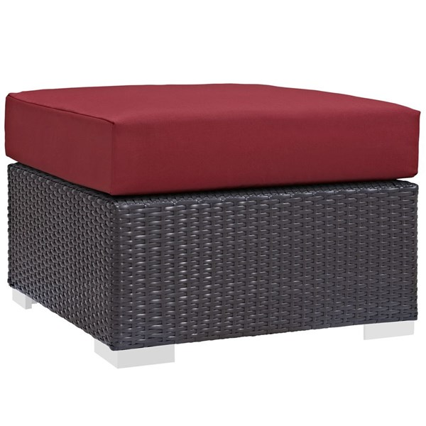 Modway Furniture Convene Espresso Red Outdoor Patio Square Ottoman EEI-1911-EXP-RED