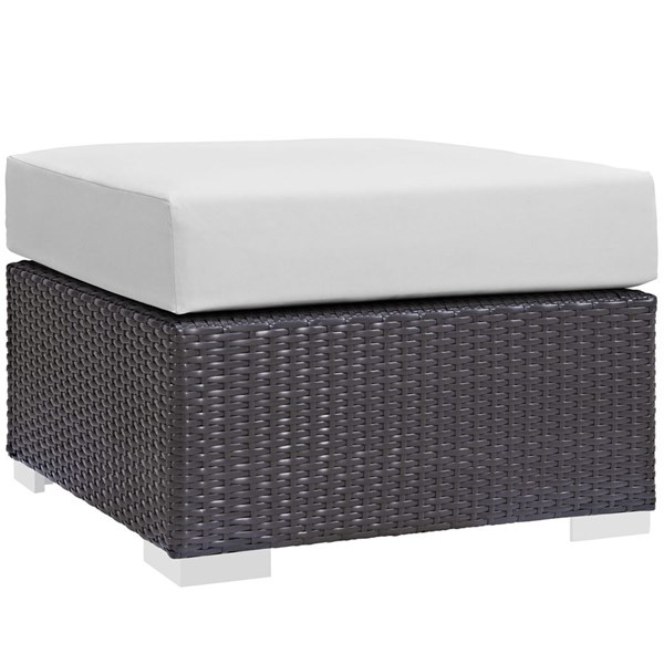 Modway Furniture Convene Espresso White Outdoor Patio Square Ottoman EEI-1911-EXP-WHI