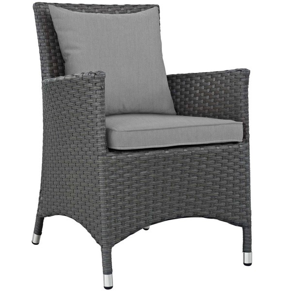 Modway Furniture Sojourn Gray Dining Outdoor Sunbrella Armchair EEI-1924-CHC-GRY