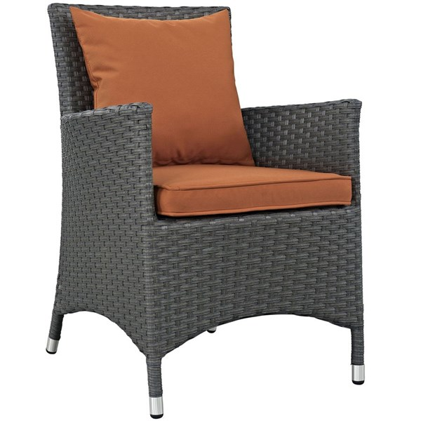 Sojourn Tuscan Fabric Rattan Aluminum Dining Outdoor Patio Armchair EEI-1924-CHC-TUS