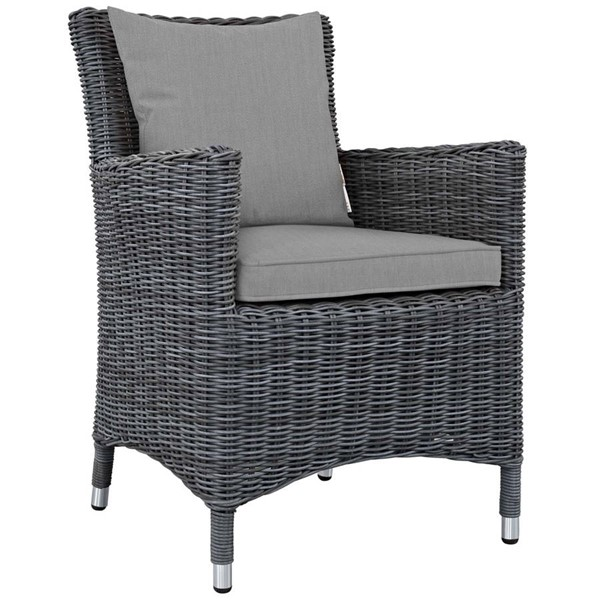 Modway Furniture Summon Gray Dining Outdoor Sunbrella Armchair EEI-1935-GRY-GRY