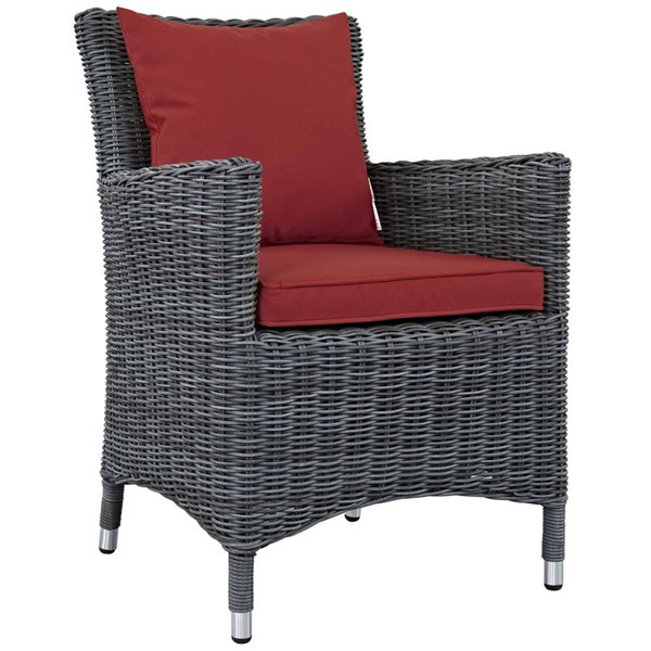 Modway Furniture Summon Red Dining Outdoor Sunbrella Armchair EEI-1935-GRY-RED