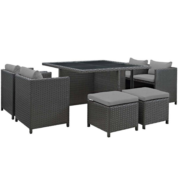 Modway Furniture Sojourn Gray Square 9pc Outdoor Sunbrella Dining Set EEI-1946-CHC-GRY-SET