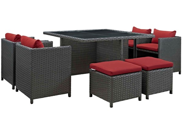 Modway Furniture Sojourn Red Square 9pc Outdoor Sunbrella Dining Set EEI-1946-CHC-RED-SET