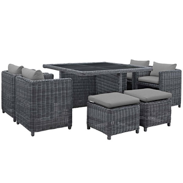 Modway Furniture Summon Gray Square 9pc Outdoor Sunbrella Dining Set EEI-1947-GRY-GRY-SET