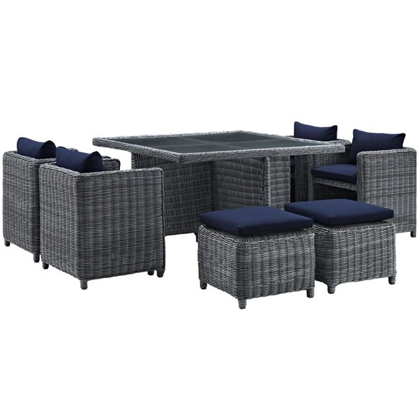 Modway Furniture Summon Navy Square 9pc Outdoor Sunbrella Dining Set EEI-1947-GRY-NAV-SET