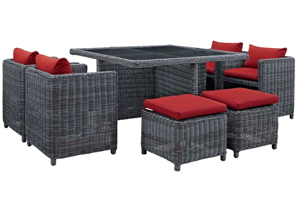 Modway Furniture Summon Red Square 9pc Outdoor Sunbrella Dining Set EEI-1947-GRY-RED-SET