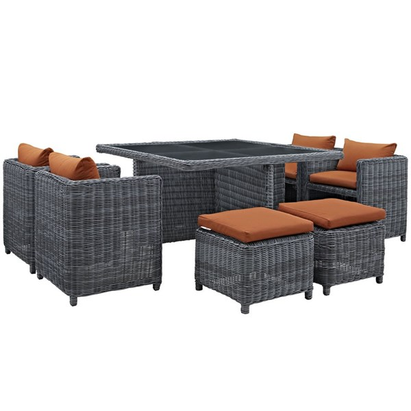 Summon Tuscan Fabric Synthetic Rattan 9pc Outdoor Patio Dining Set EEI-1947-GRY-TUS-SET