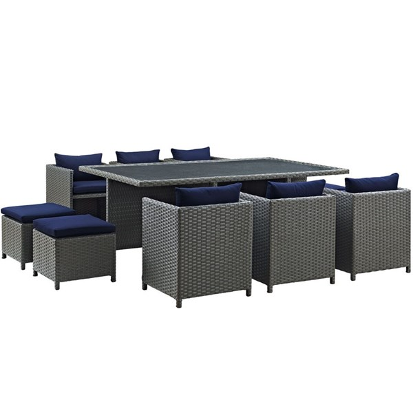 Sojourn Navy Fabric Synthetic Rattan 11pc Outdoor Patio Dining Set EEI-1952-CHC-NAV-SET