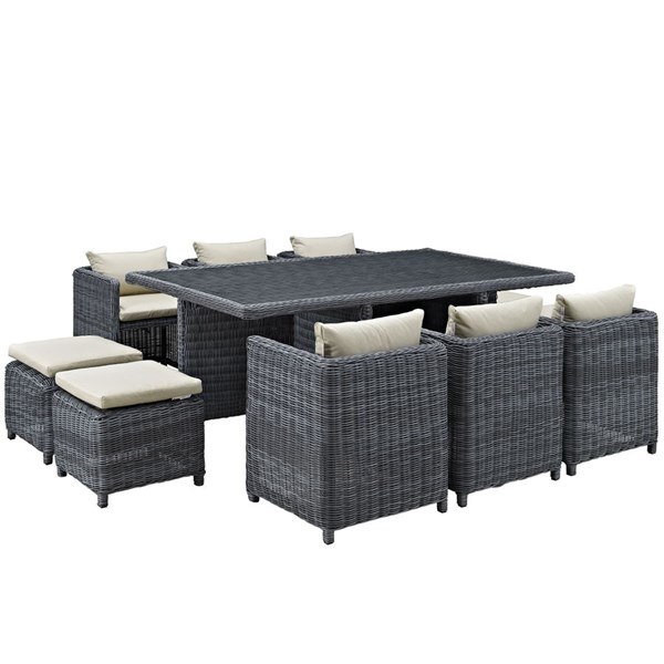 Summon Beige Fabric Synthetic Rattan 11pc Outdoor Patio Dining Set EEI-1953-GRY-BEI-SET