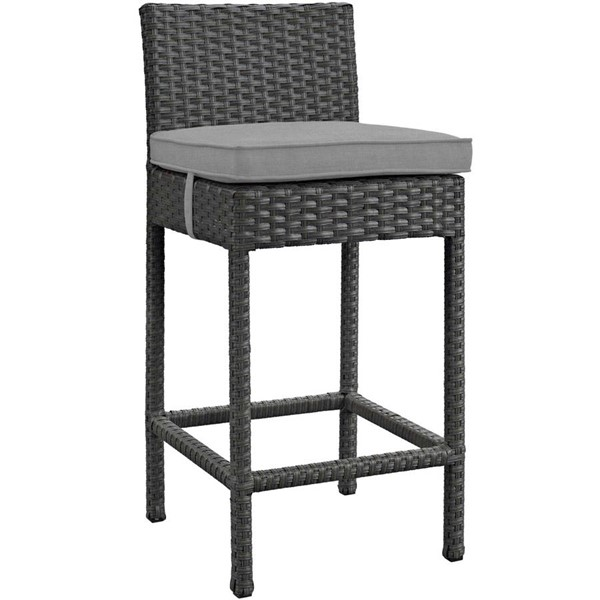 Modway Furniture Sojourn Gray Outdoor Sunbrella Bar Stool EEI-1957-CHC-GRY