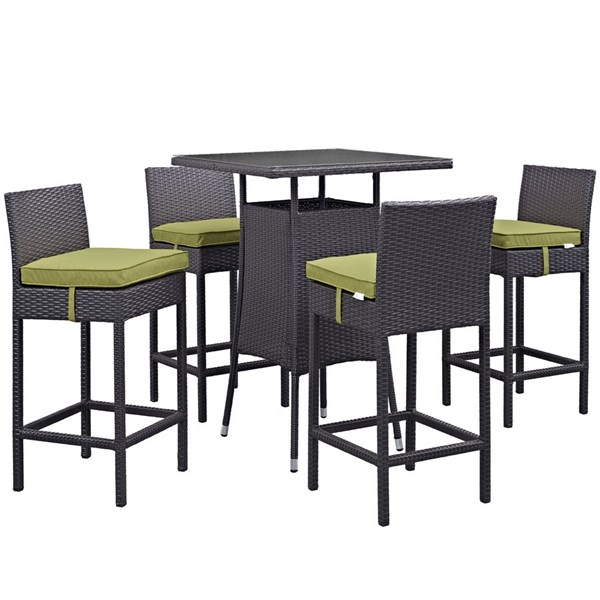 Convene Peridot Rattan Square 5pc Outdoor Bar Set EEI-1963-EXP-PER-SET