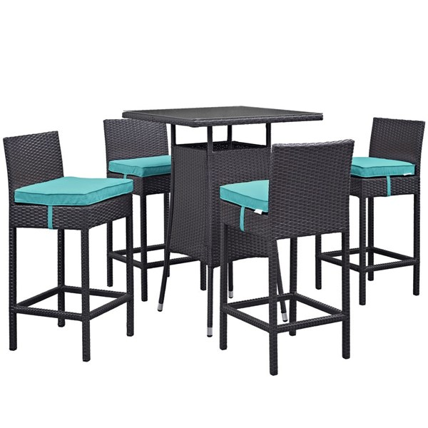 Convene Synthetic Rattan Square 5pc Outdoor Bar Set EEI-1963-EXP-TRQ-SET
