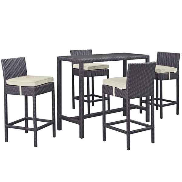 Convene Beige Synthetic Rattan 5pc Outdoor Dining Sets EEI-1964-OD-DS-VAR